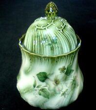 Blakeney Sadler White Wild Rose/Christmas Rose? /Green 8 1/2 inch  Storage Jar