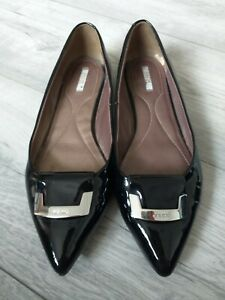 Black Pumps Patent Pointed Toe Geox Respira UK 38 Work Shoe Flats Shiny
