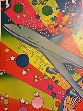 Vintage Peter Max PAN AM 747 Airliner Airplane Psychedelic Pop Stars Art Poster