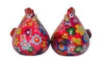 Pomme Pidou Salz & Pfeffer Streuer Huhn Matilda Keramik rot mit Blumen