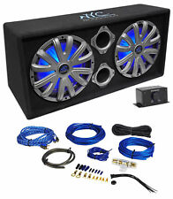 "NYC Acoustics NSE212L Dual 12"" 1800w Powered Car Subwoofer System+LED+Wire Kit"
