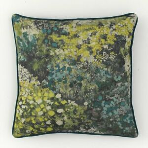 """'Chess' Linen Mix Feather-Filled Floral Cushion - Teal/Green (17"""" x 17"""")"""