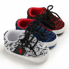 Newborn Infant Sneakers Baby Boy Girl Laces Crib Shoes PreWalking Trainers 0-18M