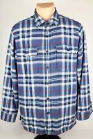 LL Bean Mens Med Blue/Red Plaid Fleece Lined Flannel Button Up Shirt Long Sleeve