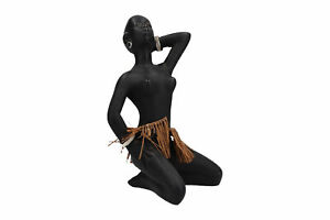 Duron Chalk Ware African Woman Figure Vintage 1950's 60's