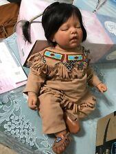 "Lee Middleton 2003 19"" NATIVE AMERICAN SLEEPING BABY+cradleboard COA Bible tags"