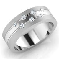 0.21 Ct Round Natural Diamond Wedding Mens Ring 14K White Gold Band Size W