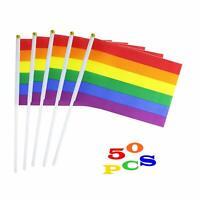 50 Pack Small Mini Rainbow Gay Pride Flag Handheld LGBT Stick Flag Pride Festiva