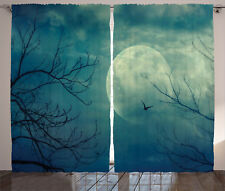Horror House Curtains Haunted Forest Window Drapes 2 Panel Set 108x84 Inches
