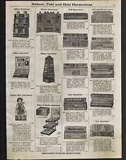 1923 ADVERT 2 PG Hohner Boy Store Display Hotz Harmonica Echo Jolly Pals Pohl ++