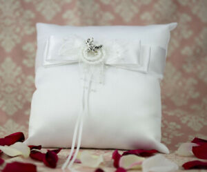 Western Wedding Ring Pillow, White with Silver Cowboy Boot Charm