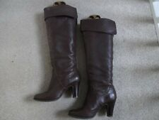 """Sacha London Size 4 (37) Brown Leather Pull On Boots 3"""" Heel"""