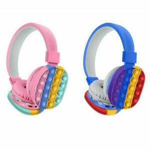 NEW Pop It Decompression Kids Headset Toy Fidget Wireless Headphone HOT SALE!