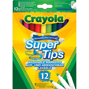 Crayola Washable Markers Super Tips - 12 Pack. Home, School, Arts & Crafts, Pict