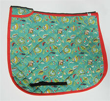 Handmade Contoured TEAL Floral Dressage English Saddle Pad by Equine Organix