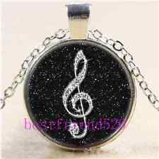 Black Diamond musical note Cabochon Glass Tibet Silver Chain Pendant Necklace
