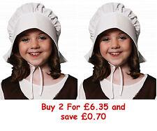 Childrens Kids Girls Victorian Tudor Maid Bonnet Hat Fancy Dress Costume