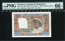 Madagascar 1950-1951, Comores 50 Francs, P45a, PMG 66 PQ GEM UNC
