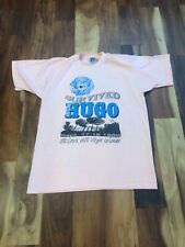 vtg 80s single-stitch I SURVIVED HURICANE HUGO t shirt 50/50 pink USA made L