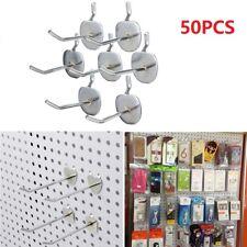 50x Metal Pegboard Peg Board Slat Wall Hooks Shop Display Hangers Grid Panel Peg
