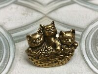 Vintage Stamped Gold Tone Brooch Pin Three Cute Kittens Cats in Basket Figural