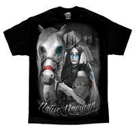 Native American Art Warrior Woman Steel Horse Motorcycle Indian Dana Tiger Print