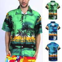 Men's Hawaiian Print Short T-Shirt Sports Beach Quick Dry Blouse Top Blouse 9