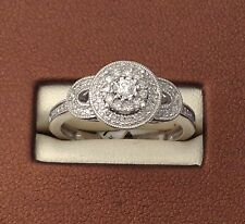 10k White Gold Flower Double Halo Antique Round Diamonds Engagement Shank Ring