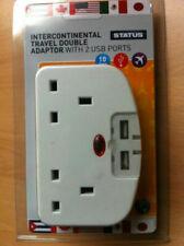 NEW! InterContinental Travel Twin Adaptor 2 USB Ports 3 Pin Socket USA Canada
