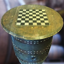 Recycled Solid Oak Whiskey Wooden Drinks Cabinet With Chess Board Table Top