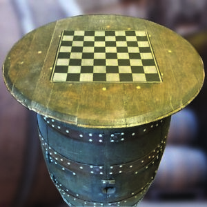 Natural Wooden Whisky Cask Barrel Drinks Cabinet Draughts Board Pub Table Top