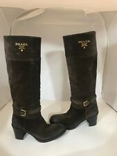 PRADA 1211018 BROWN SUEDE CLASSIC RIDING BOOT TALL BOOTS 38