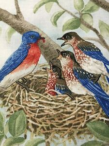 "Fabric Bird Quilt Square 4.75"" x 6"" Cotton Mom Bird Babies ELIZABETH Qty 1"
