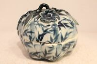 Beautiful Blue and White Porcelain Pumpkin Box Bamboo Motif From Thailand