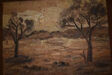 Vintage Australian Bark Painting, 1976 Signed Folk Art