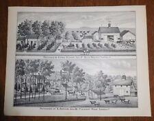 Antique Print Plate Becker Home Belle Prairie Pleasant Ridge Township Illinois