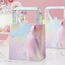 Iridescent Foil Unicorn Tassel Party Bags Kids Party Favours Goodie Bags - Pk 5
