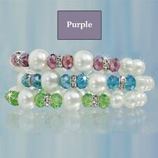 NEW Stretch PURPLE Crystal Tennis Bracelet Pearl & Bead DELUXE Comfortable SALE