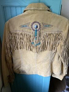 Tan Scully Suede Fringe Jacket w/ beads- Size M