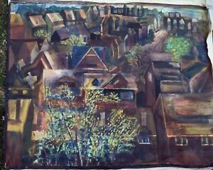 PITTSBURGH HOUSES C by  FREEMAN ACRYLIC ON UNSTRETCHED CANVAS 40 X  50