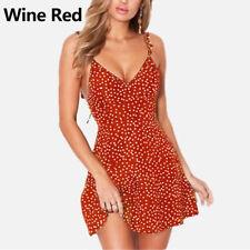 Women Sexy Print Mini Dress Dress Dot Strap V Neck Short Summer High Waist uk