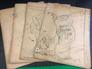 1930s 1940s Unpublished Hand Sketched Political Art Cartoons Comics Fred Ayer