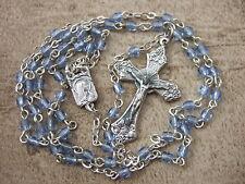 "Catholic Rosary Sapphire BLUE Glass Tiny Dainty 3mm glass beads 15"" cute!"