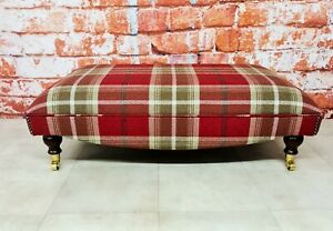Extra Large Footstool Balmoral Red Tartan Fabric with solid dark wood legs