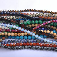 """16"""" Strand Natural Gemstone Stone Spacer Loose Round Beads Jewelry Finding 6MM"""
