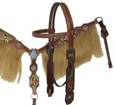 Showman Painted Tooled Leather Bridle Horse Hair FRINGE Breastcollar & Reins SET