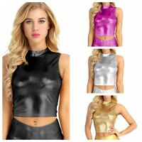 Hot Women Turtleneck Leather Tank Tops Bustier Bra Vest Blouse Crop Top Clubwear