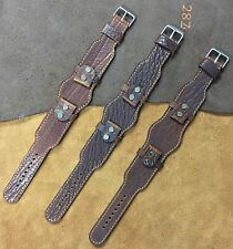 Size 16/18/20/22mm Oil Brown Leather Cuff Watch Strap/Band fit Wire Lug #008