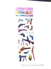 1 sheet 3D PVC gun stickers lot kids Crafts Puzzle boys favor Xmas Birthday gift