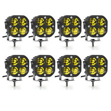 8X 40W Amber LED Work Light Bar Spot Pods Driving Fog Offroad SUV Truck ATV Lamp